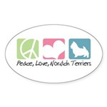 Peace, Love, Norwich Terriers Sticker (Oval 10 pk)