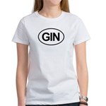 GIN Alcohol Booze Drink Oval Women's T-Shirt