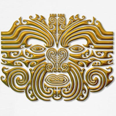 This design is based on a traditional face tattoo and done in gold.