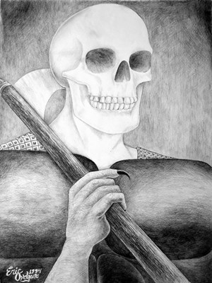 black and white of grim reaper