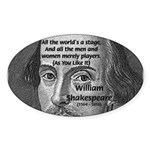 Playwright William Shakespeare Oval Sticker