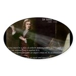 Isaac Newton Laws Motion Oval Sticker