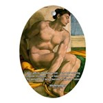 Michelangelo Nude Painting Oval Ornament